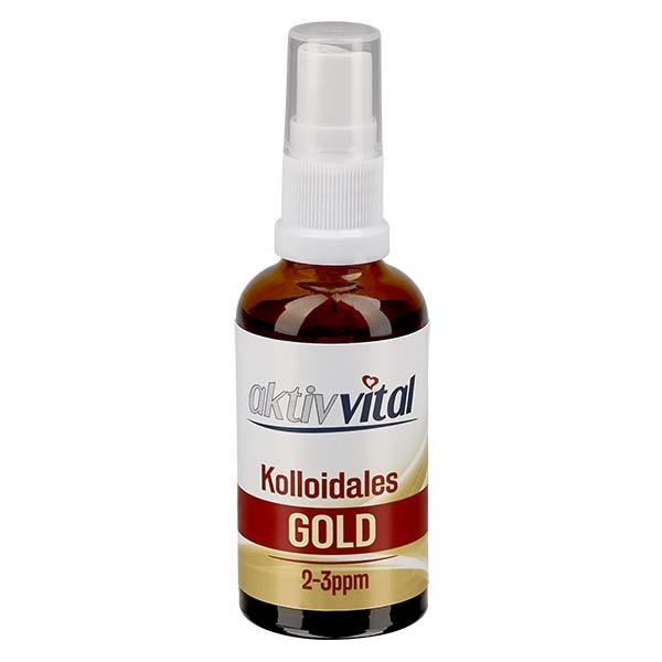 50 ml Kolloidales Gold Aktiv-Vital, 2-3ppm, Braunglasflasche mit Sprayaufsatz