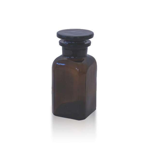 Vierkantflasche braun 100ml mit Glasstopfen
