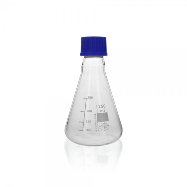 Erlenmeyerkolben 250 ml mit Gewinde + Verschluss