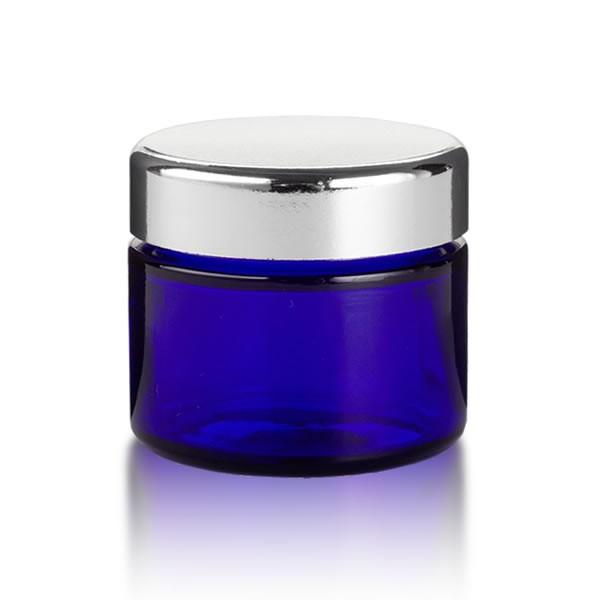 Blauer Glastiegel 50ml + silbernem Deckel