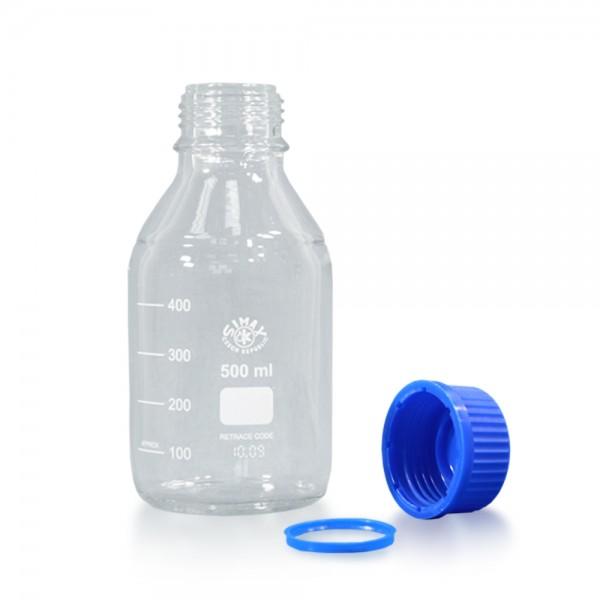 500 ml Laborflasche Glas + blauer Kappe + Ring