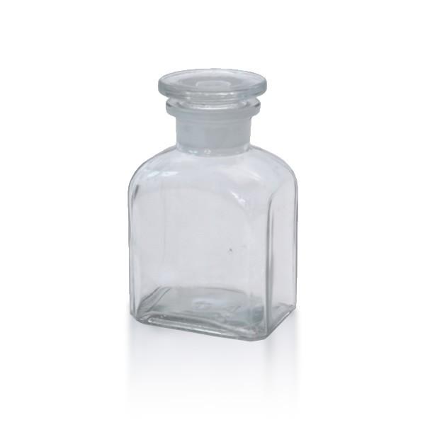 Vierkantflasche klar 150ml mit Glasstopfen