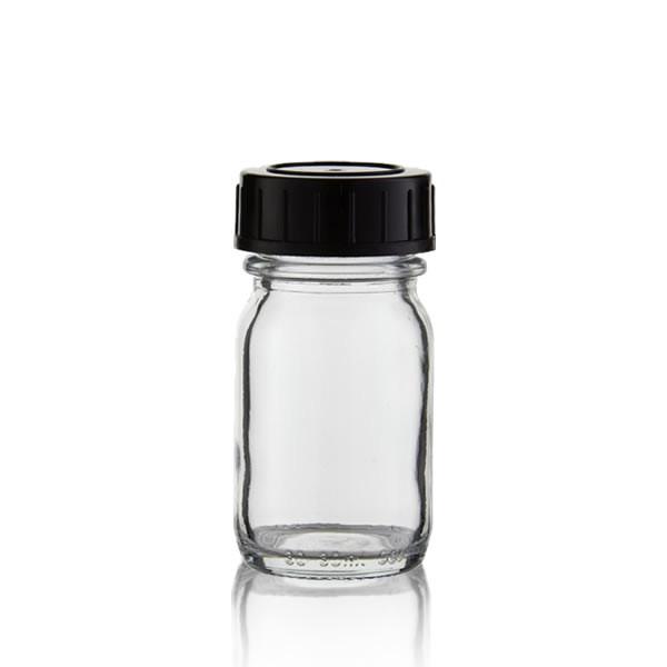 Weithalsflasche Klarglas + Deckel 30ml