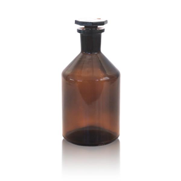 Steilbrustflasche 250ml mit Glasstopfen - Enghals braun