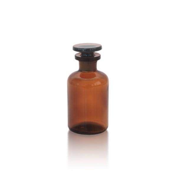 Apothekerflasche 50 ml mit Glasstopfen - Enghals braun