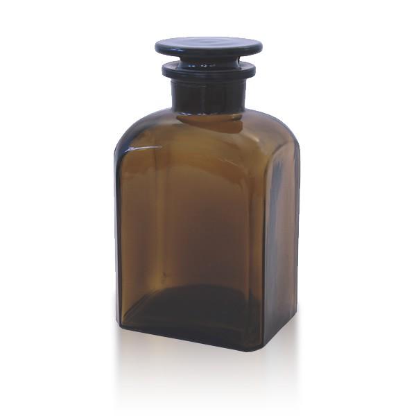 Vierkantflasche braun 500ml mit Glasstopfen