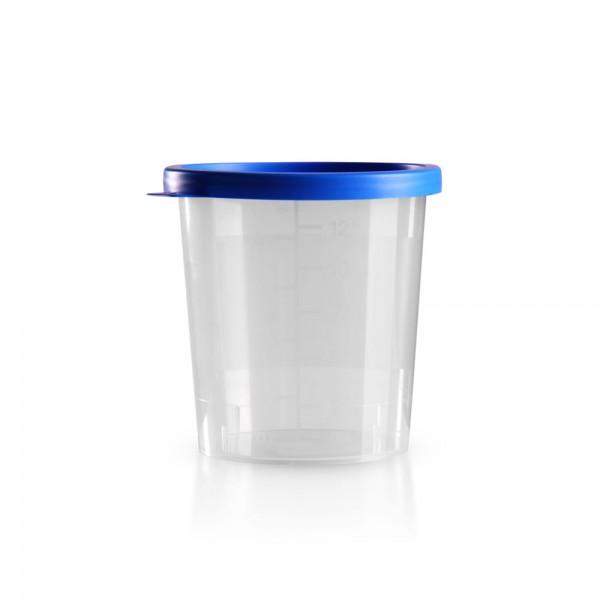Urinbecher mit blauem Schnappdeckel 125ml