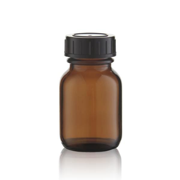 Weithalsflasche Braunglas + Deckel 50 ml