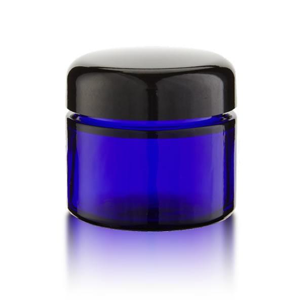 Blauer Glastiegel 50ml + schwarzem Deckel