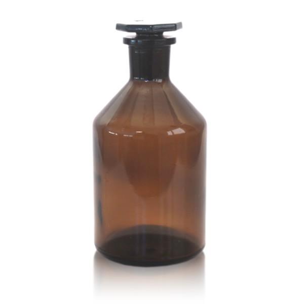 Steilbrustflasche 500 ml mit Glasstopfen - Enghals braun