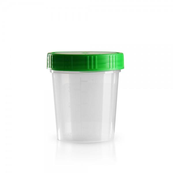Urinbecher mit grünem Schraubdeckel 125ml