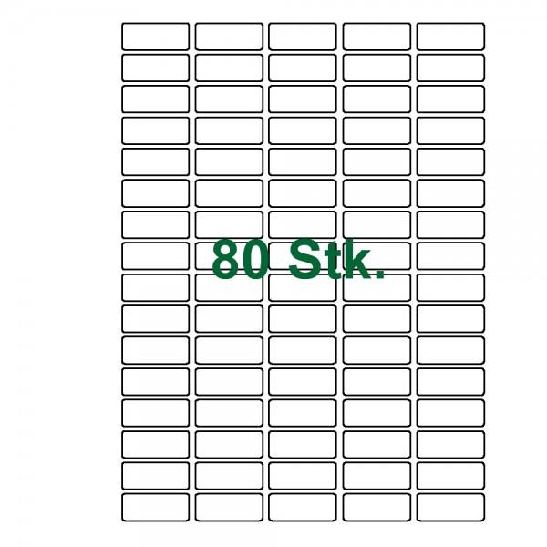 80 selbstklebende Etiketten weiß 36x17mm