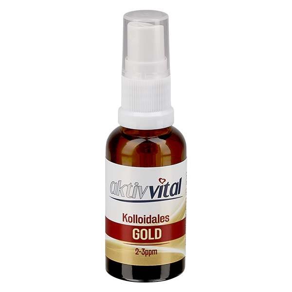 30 ml Kolloidales Gold Aktiv-Vital, 2-3ppm, Braunglasflasche mit Sprayaufsatz