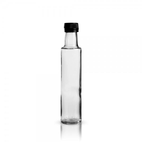 Glasflasche / Ölflasche rund 250ml klar