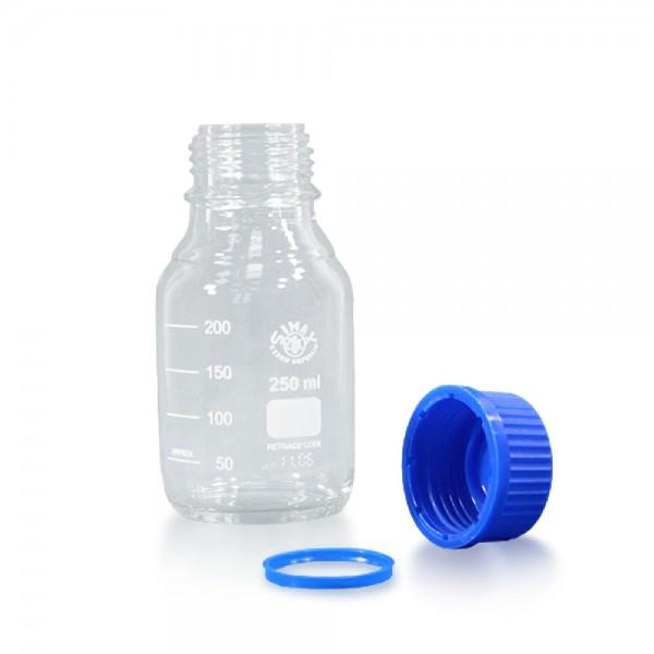250 ml Laborflasche Glas + blauer Kappe + Ring