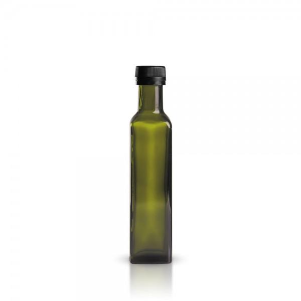 Glasflasche eckig 250 ml grün