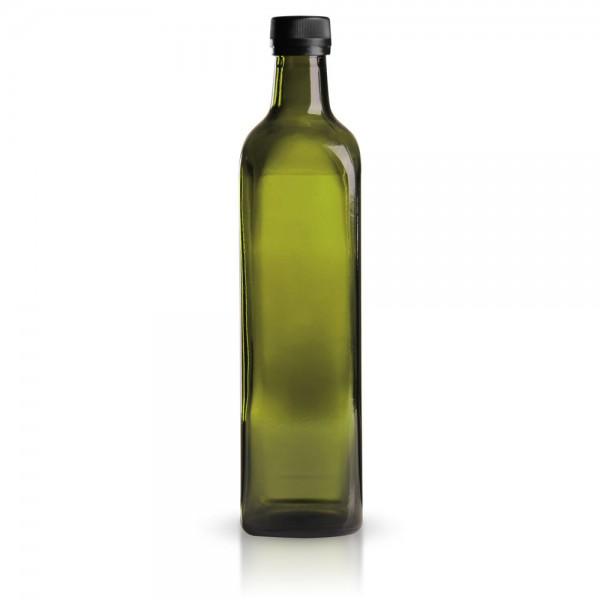 Glasflasche eckig 750 ml grün