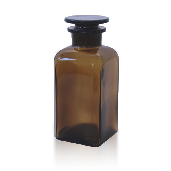 Vierkantflasche braun 350ml mit Glasstopfen