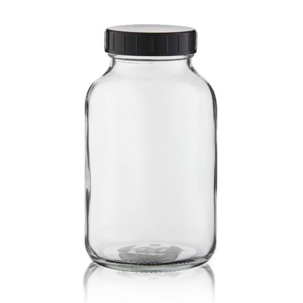Weithalsflasche Klarglas + Deckel 1000ml