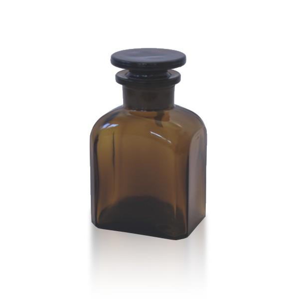 Vierkantflasche braun 150ml mit Glasstopfen