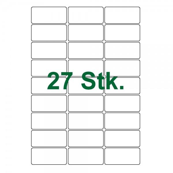 27 Klebe Etiketten weiß 63x30mm