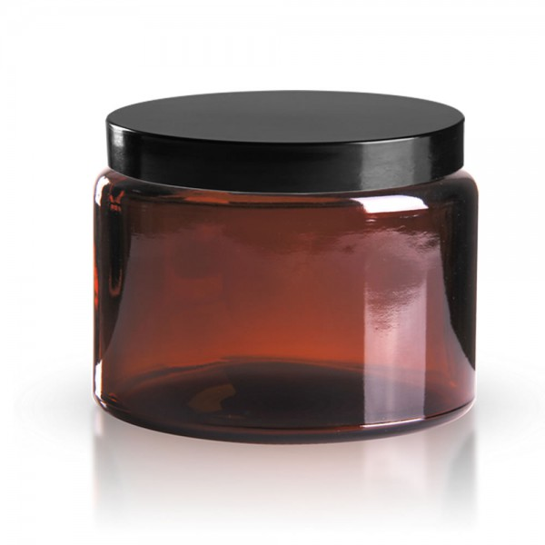 Brauner Glastiegel + Deckel 500 ml