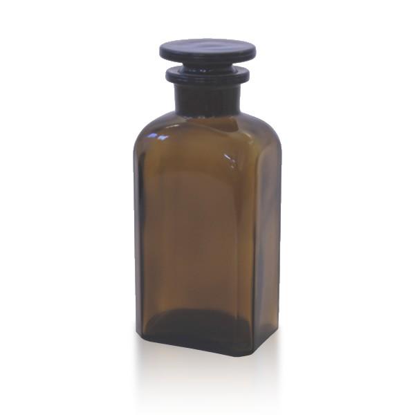 Vierkantflasche braun 250ml mit Glasstopfen